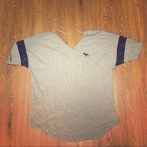 Grey open back tunic top